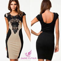 European Women Bodycon Dresses Patchwork Summer Sexy Embroidery Dress 2014 Short Club Wear C001