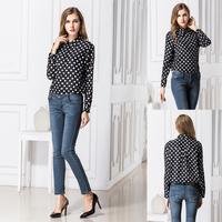 SZ048 2014 New spring women's casual blouses White Black Blue Navy Polka Dots Chiffon Shirt Tops Vintage Blusas Femininas