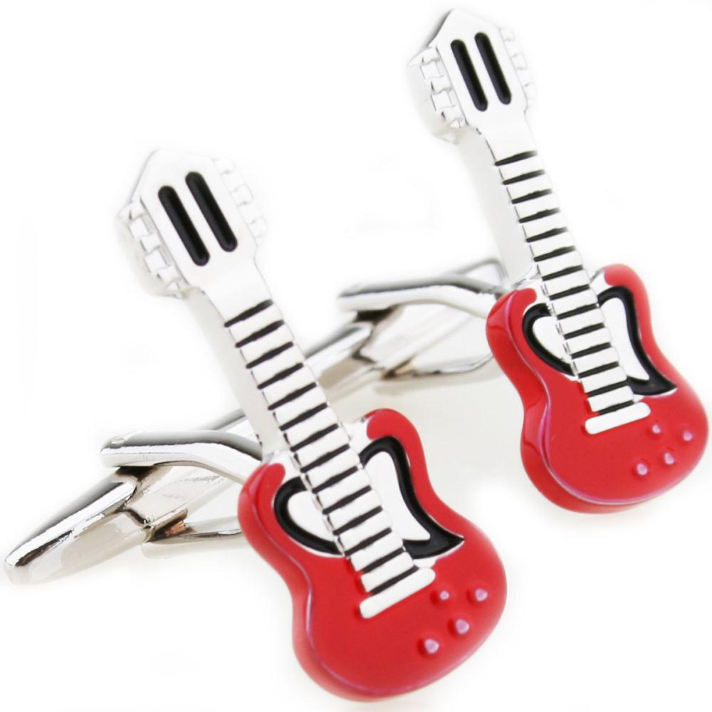 Fancy Novelty Cuff Links Birthday Music Guitar Red Color Men's Wedding Groom Party Shirt Cufflinks New 210031(China (Mainland))