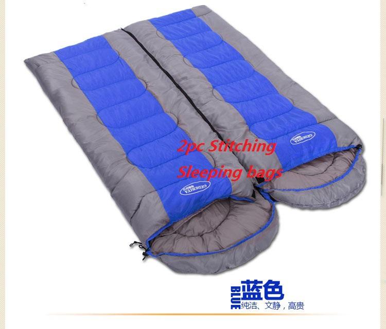 Explosion models Outdoor Sports Camping Envelope Sleep Bags Tourism Style Cotton Three Season Adult Down Fleece Sleeping Bag(China (Mainland))