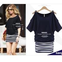 Brand New fashion 2014 autumn summer patchwork striped bodycon dresses XL 2xl 3xl 4xl 5xl 6xl plus size women clothings blue