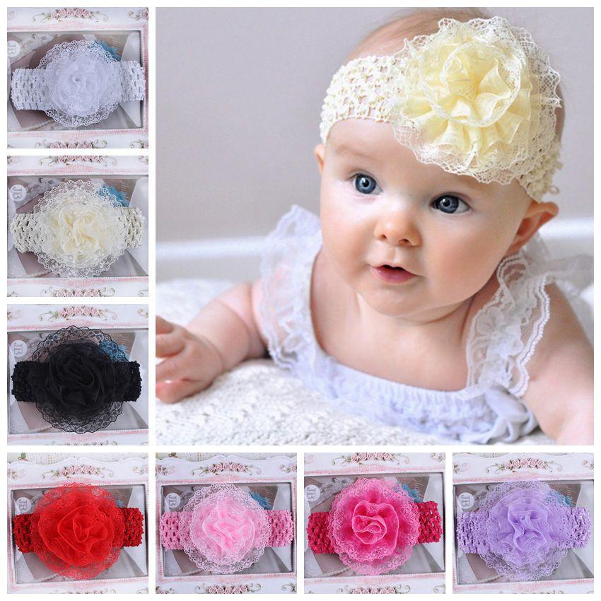 Fabric Flowers Lace Headbands Crochet Headband Children Toddler Hairband Elastic Headband Hair Accessories 10PCS/LOT(China (Mainland))