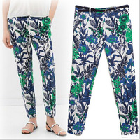 Free shipping Hot Sale  girls  Fashion Leaf  Pattern Casual Trousers Womens   Ladies Autumn Pants