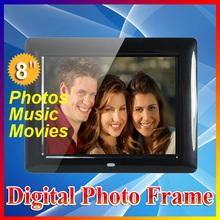 Envío Gratis 8 pulgadas TFT - LCD Digital LCD HD Photo Foto Frame Películas Reloj despertador MP3 MP4 Player con Escritorio remoto(China (Mainland))