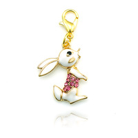 Fashion Necklaces & Pendants Accessories Cute bunny Floating Locket Charms With Lobster Clasp  Free Shipping DZ0522