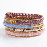 Fashion purple blue pink opal stone wrapped leather bracelet female rock style BFWS