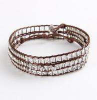 Beaded bracelet hand-woven natural clear crystal 4 wrap 75cm length BFWS