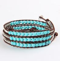Fashion natural turquoise bracelet handmade woven multi-layer jewelry women and men BFWS