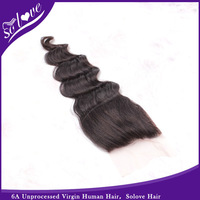 "6A Brazilian wave hair free part lace top closure Solove hair products Closure(4""*4"") wave 8""-20"" natural Color free shipping"