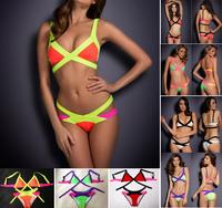 New 2014 Bandage Bikini, Sexy Women Neon Swimwear Beachwear, Vintage Swimsuit Bathing Suit #B057