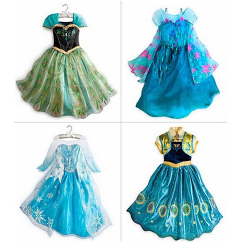 1pieces retail, summer dress 2014 Frozen Elsa Anna costume princess dress sequined cartoon costume Free shipping girls dresses.(China (Mainland))
