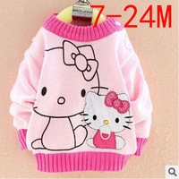 2014 Fall&Winter Hello Kitty Children Sweater Cute Cartoon Brand 0-3 Years Old Girls Sweater Korean Baby Causel Kids Clothes c20