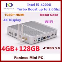 4GB RAM+128GB SSD Mini desk computer thin client Intel i5 CPU dual core quad thread, wifi, 4*USB 3.0 ports fanless,metal case