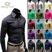 2015 New Arrival  Korean Style Men's Long Sleeve Shirts Candy Color Shirt Seventeen Colors Plus Size M-XXXL MCL108