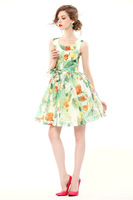 Free Shipping High quality Women's round neck sleeveless vest bottoming Slim flower print dress