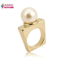 2014 new fashionable hot Punk gold alloy Square Imitation Pearl Designer finger ring for women bagues ensemble bijoux anillos