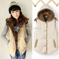 winter vest women vests waistcoats,hooded woolen liner womens vest coat,patchwork PU leather thick jacket,coletes femininas