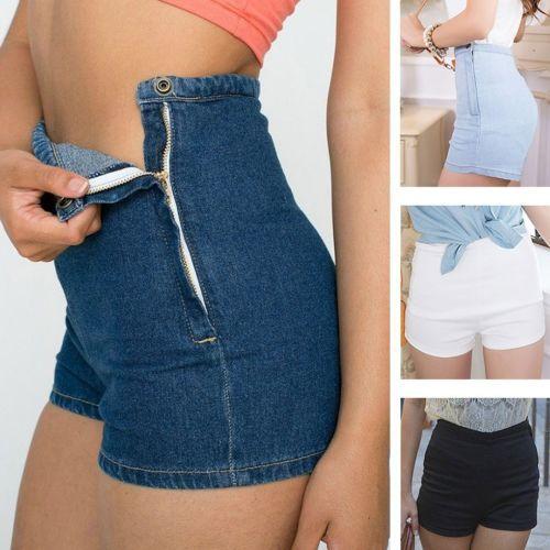 Летние женщины тонкие высокие джинсы талии джинсы нажмите короткие горячая плотно боковая кнопка