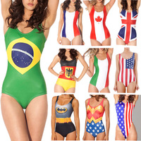 SUPERMAN WONDER WOMAN WORLD FLAGS WIN OR DIE 2015 New Sexy Women SWIMSUIT Digital Print Swimwear Women Beach One Piece
