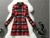 New 2014 wool women plaid coat  winter women coat Elegant ladies long plus size woollen cashmere casacos femininos veste femme