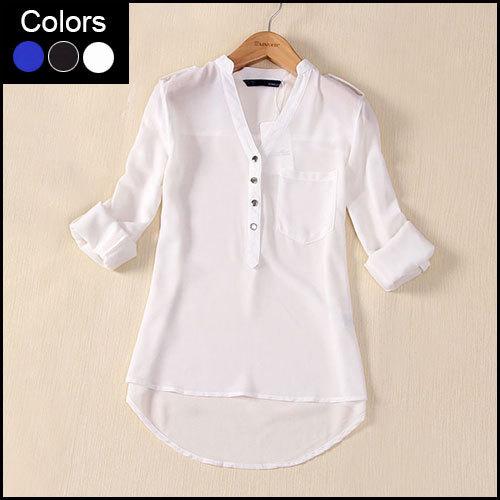 Long Sleeve Chiffon Women Blouse Camisas Blusas Femininas Plus Size White Black Blue Ladies Blouses 2015 Summer Shirt Tops DF047(China (Mainland))