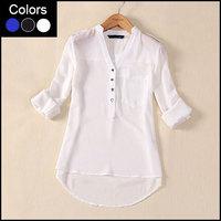 Long Sleeve Chiffon Women Blouse Camisas Blusas Femininas Plus Size White Black Blue Ladies Blouses 2014 Summer Shirt Tops DF047