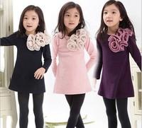 New 2015 Children Clothing Kids Long Sleeve Princess Dress GirlS Big Flower Lady Style Casual Dresses 5pcs/lot
