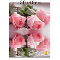 Full Diamond Embroidery Cross Colorful Pink Rose DIY Square Stick Drill Drawing Resin Diamond Painting Rhinestone Flower 30*40