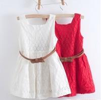 2014 summer new models Kids Belt Lace Vest Dress Princess Girls dress red~white baby dress free shipping