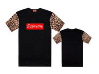 Vintage Short Sleeve leather/leopard T shirt Supreme Fashion Men Tee Shirt  man Tops Supreme t-shirt