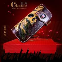 Hong Kong OLG. YAT Retro National style handmade carving Skull snakeskin leather wallets  men long wallet multi-function handbag