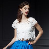 YIGELILA 7201 Latest Summer Customized Hollow Out Women Lace Shirt Free Shipping