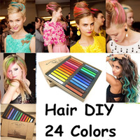 2014 Hot Fashion Healthy Crayons For Hair 24 Color Fast Non-toxic Temporary Pastel Hair DIY Painting Extension Dye Chalk