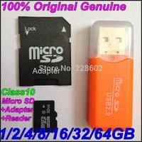 100% Original Genuine Brand full Capacity2GB 4GB 8GB 16GB 32GB 64GB micro sd card TF class10 Memory card+USB reader-freeshipping