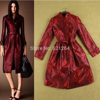 2014 New winter fashion abrigos mujer women red print long sleeve coat