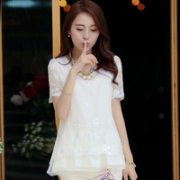 Free shipping Fashion 2014 summer organza patchwork cutout chiffon shirt female short-sleeve medium-long loose top lace shirt