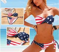 Free Shipping Fashion steel bikini american flag steel bikini swimwear EG6106