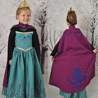 new 2014 frozen Elsa coronation dress, long sleeve elsa costumes for kid girls (dress + cape )frozen dresses baby & kids clothes