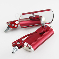 Universal Motorcycle Bike Rear Back Rearview Side View Mirrors Rectangle 360 degree Red Color Aluminum Material  #3694*2