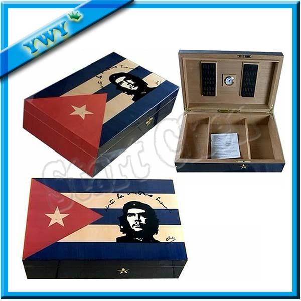 FREE SHIPPING Guevara Unique Fashionable Display Best Bule Cigar Humidor Luxury Wooden Storage Box with Lock cigar box(China (Mainland))