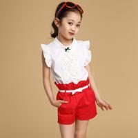 2014 teenager girls summer clothing sets children clothing set cotton lace t-shirt +short Skirt kids suit sets/roupas meninos