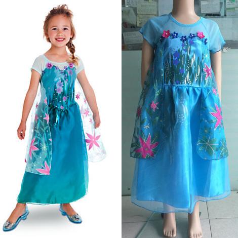 2014 new frozen elsa cosplay costume girls dress,short sleeve sequined frozen princess girls dress birthday party frozen vestido(China (Mainland))