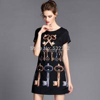 Women Fashion Key Print Black Short Dress Round Neck Short Sleeve Plus Size Slim Mini Brand Black Dress XL 2XL 3XL 4XL 5XL