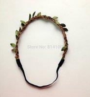 2014 new style Wholesale   Bohemian leaves leather Headband HAIRBANDS   Braided Leather Elastic Headwrap hairband Hair Ornaments