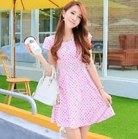 Qct 2014 summer women's plus size slim short  dot fresh short-sleeve dress