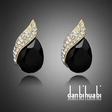 Shimmer Chic vintage black Crystal Earring Gold Tone Earring for Women