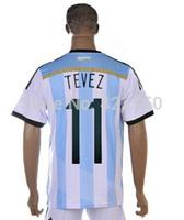Cheap Argentina Home #11 Tevez 2014 Brazil World Cup Men Soccer Jersey Wholesale Price Football Shirt New Arrival