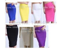 2014 new sexy women Fashion Luxury midi evening Party bandage Skirts  blue white red black yellow purple hot pink