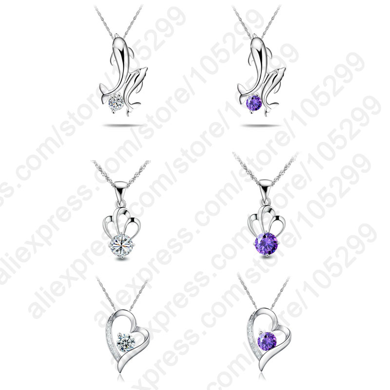 """Wholesale 6PCS 3 Styles Pure 925 Sterling Silver Jewelry Heart Dolphin Cubic Zirconia CZ Animal Pendant Necklaces Set 18"""" Chain(China (Mainland"""