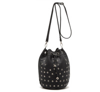 Drawstring black red leather mini bucket bag women rivet drum brand shoulder bag girls small rock punk stud crossbody handbags